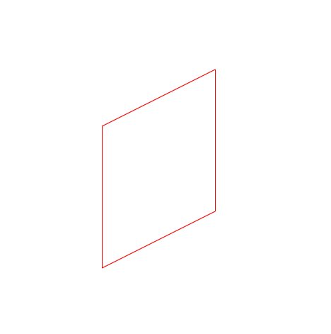 The resulting dimetric projection of our first square