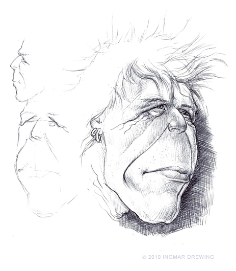 Sketches of Michael Rhein, singer of In Extremo