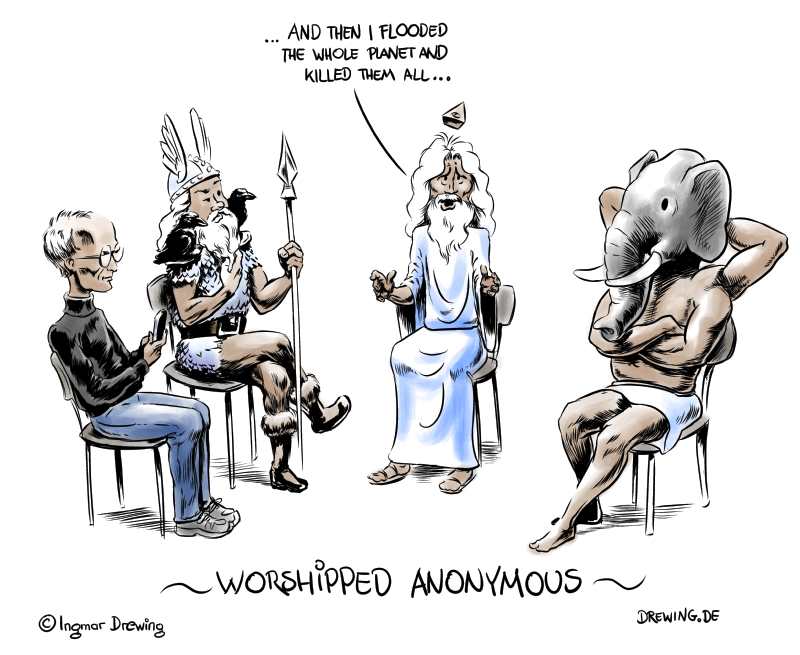 worshipped anonymous, self help group, steve jobs, caricature, heaven, atheism, gods, cartoon, fun