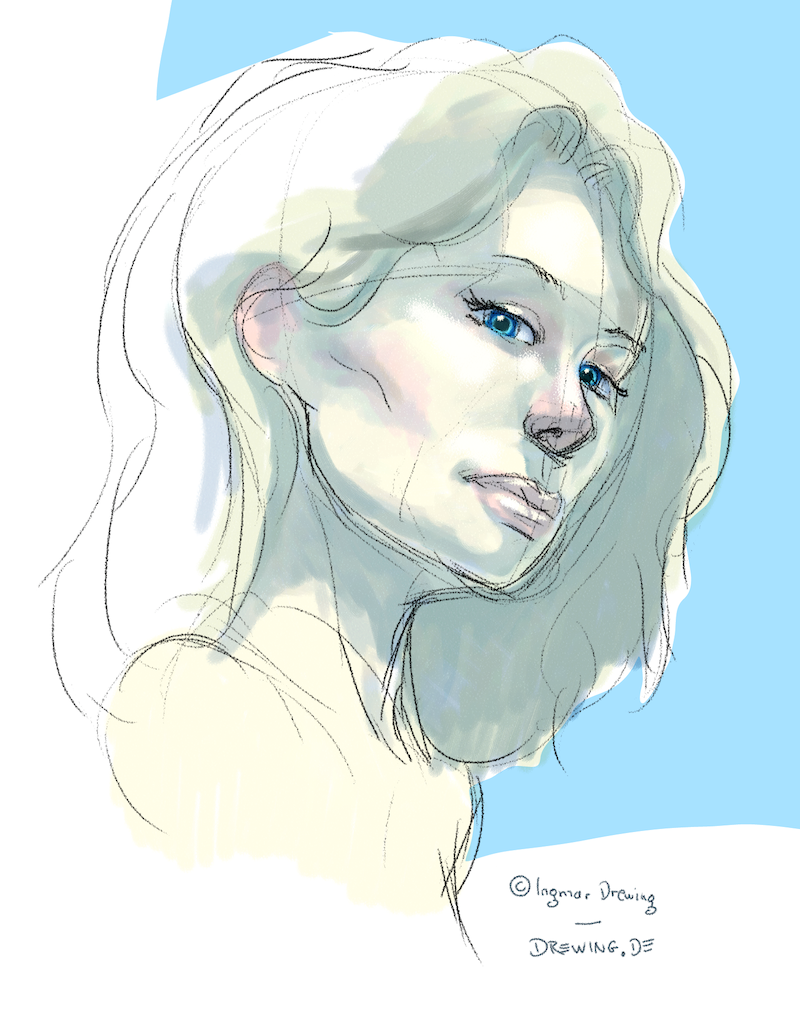 color sketch of a girl with painter 12 using digital water color