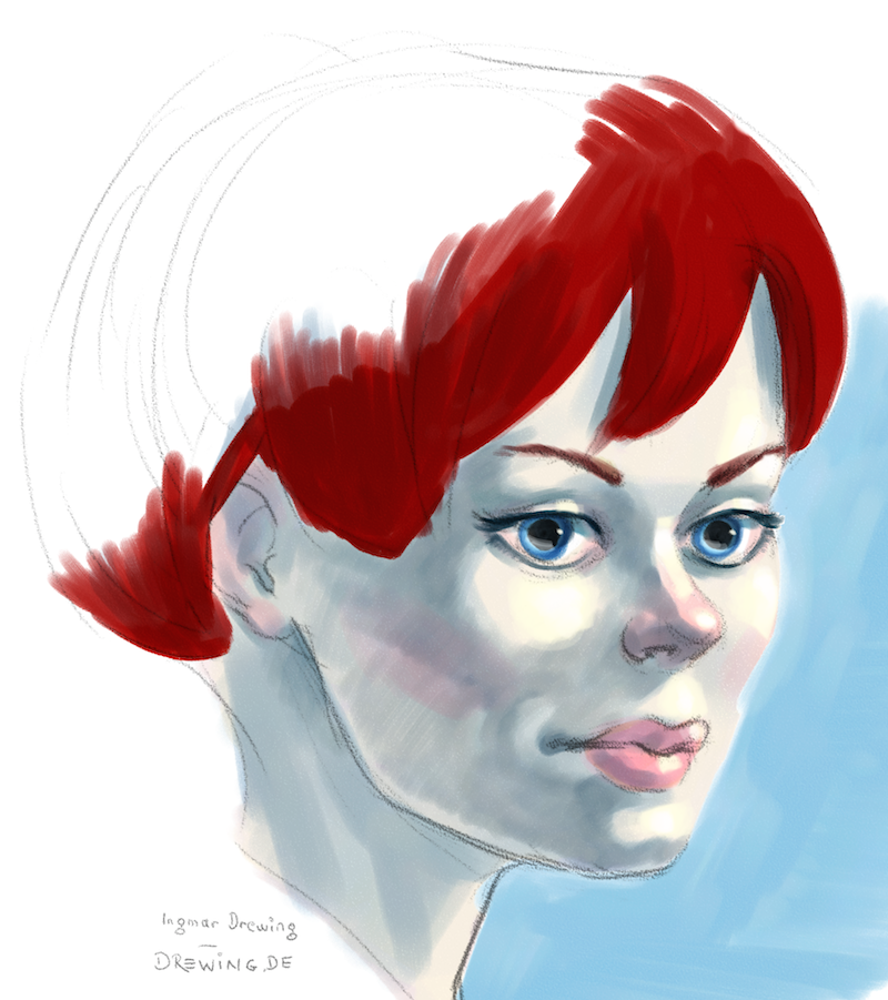digital water color sketch of a girl using painter 12