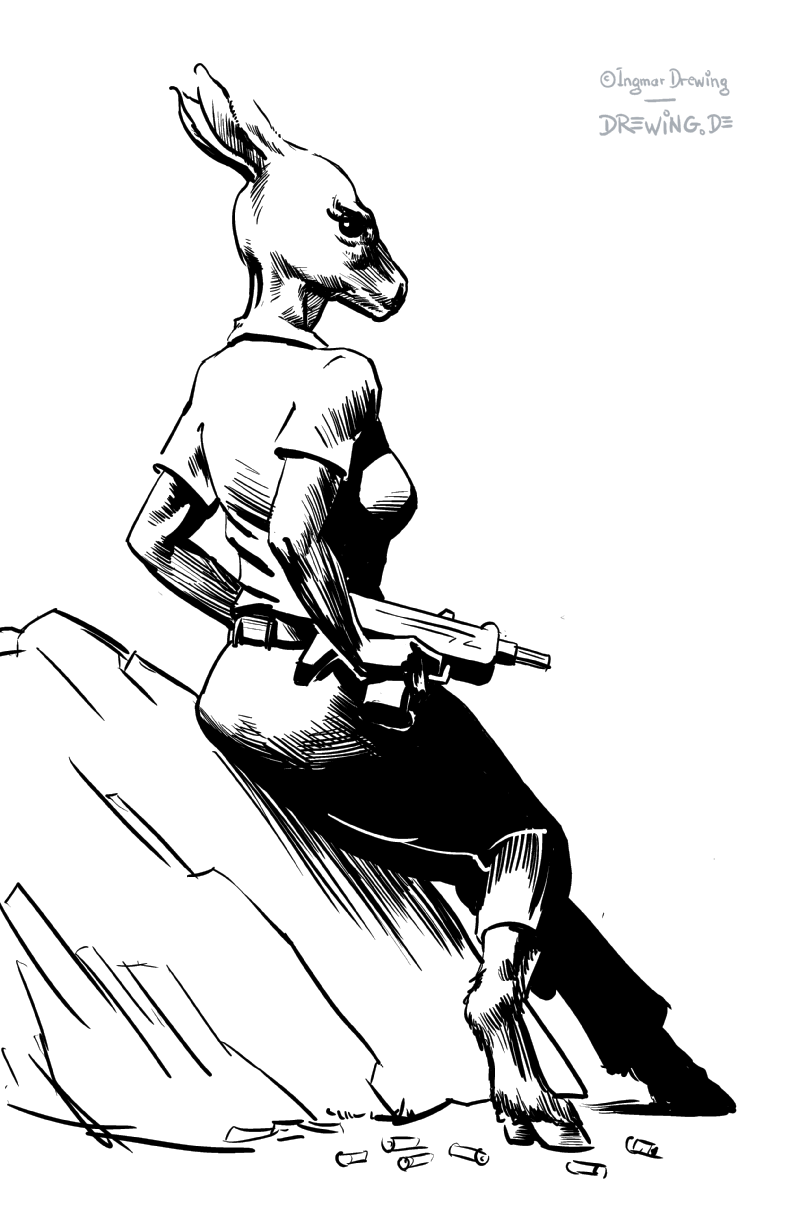 deer hunter, black and white drawing using manga studio ex4