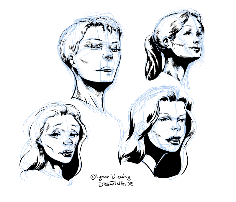 sketches, inking, heads, female, characters