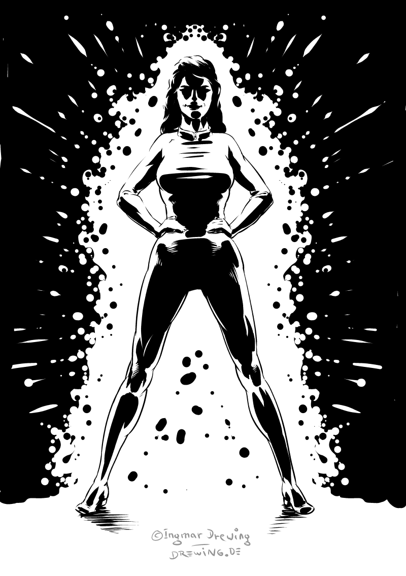 drawing, digital, super heroine, inked