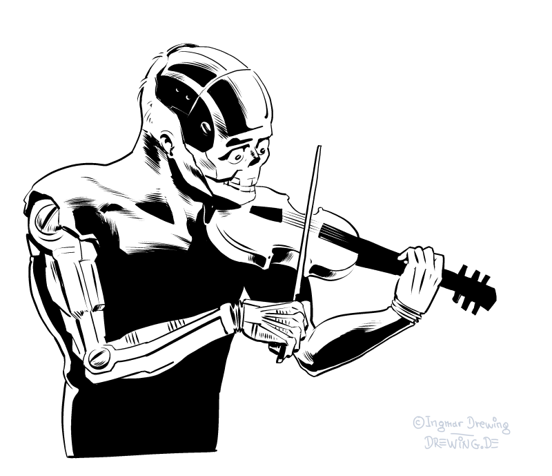 inking, drawing, cyborg, death, violine