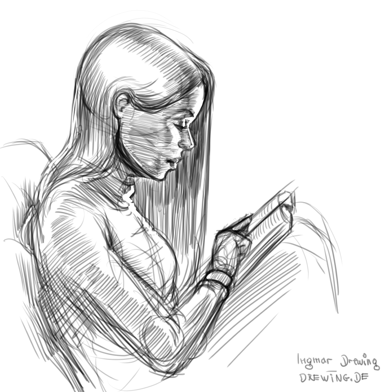 drawing, blue pencil, concept art, character