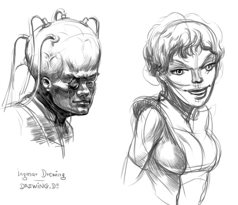 Ingmar Drewing, drawing, pencil, character design, concept art