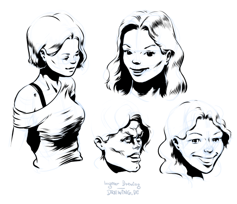 characters, ink, drawing, comic, concept art