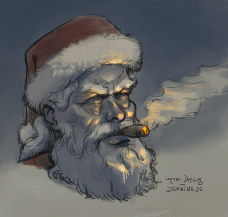 Santa Claus, Weihnachtsmann, drawing, sketch, Ingmar Drewing