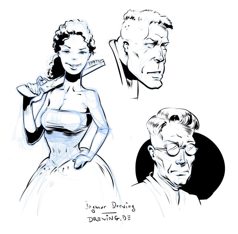 brush, sketch, drawing, Ingmar Drewing