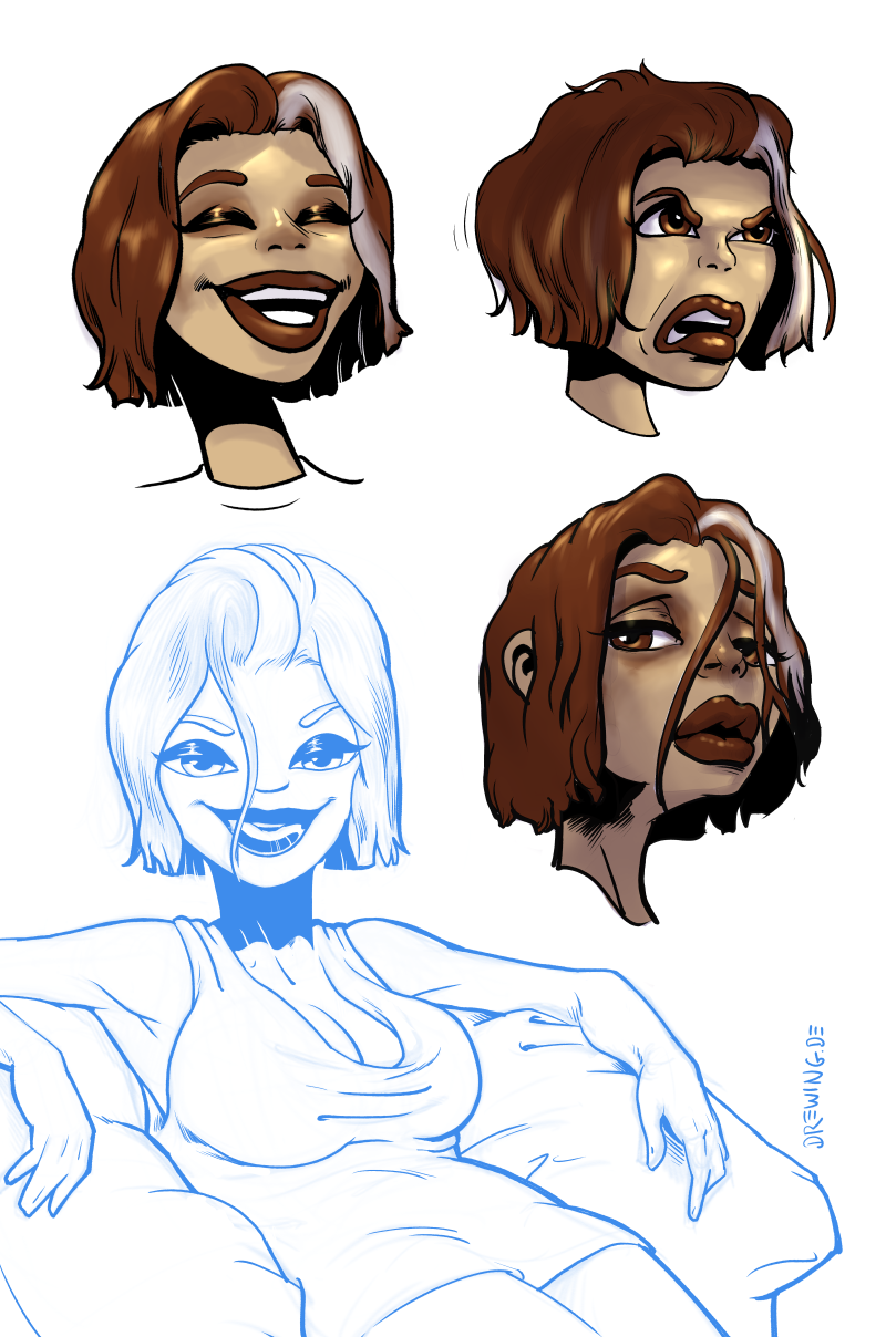 Facial Expressions of Lucy, drawing by Ingmar Drewing