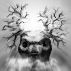 Cernunnos or something else with horns, digital sketch by Ingmar Drewing